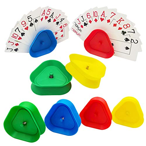 Juego de cartas triangulares, juego de cartas manos libres de 8 piezas, utilizado para juegos de cartas, tarjetero manos libres, tarjetero de plástico de pie para niños y adultos