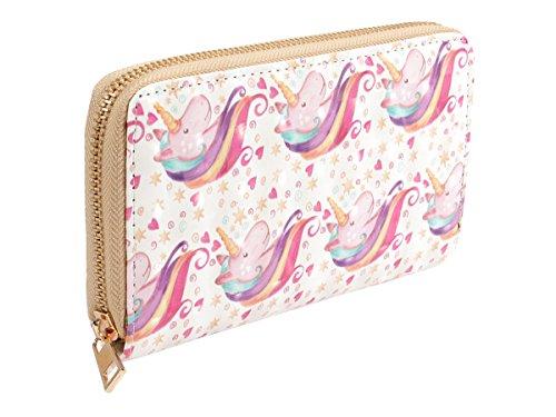Alsino Geldbörse Geldbeutel Brieftasche Portemonnaie Bt-224 | Rosa Pink Einhorn 20 x 10 x 2 cm | All Over Print Uni Farben für Junge Damen