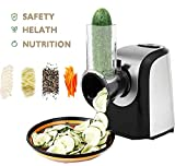 Automatic Electric Slicer Shredder Professional Salad Maker Machine with One-Touch Control and 4 Free Attachments for fruits, vegetables, and cheeses (black)