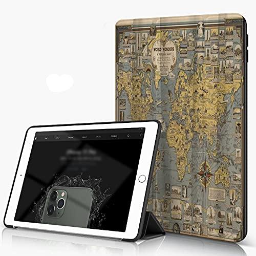 She Charm Carcasa para iPad 10.2 Inch, iPad Air 7.ª Generación,Mapa del Mundo Retro Ojales Reforzados World Wonders Compass,Incluye Soporte magnético y Funda para Dormir/Despertar