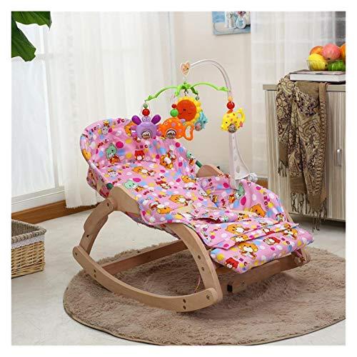 Witou Silla calmante, Bocadillo Baby Treble Small Cuna, Madera Maciza Cuna reclinable para Dormir con muñeca, Silla de balanceo (Color : A)