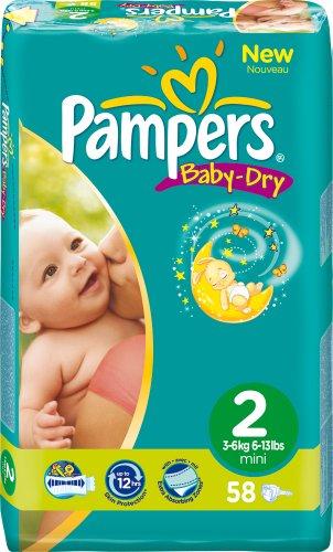 Pampers Baby Dry Windeln Gr.2 Mini 3-6 kg Sparpaket, 2er Pack (2 x 58 Stück)