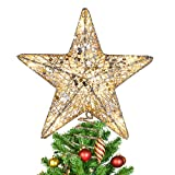 MAOYUE Christmas Tree Topper, 10 LED Lighted Star Tree Topper Gold Glittered Christmas Tre...