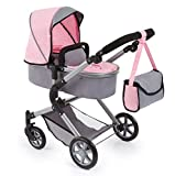 Bayer Design-18108AA Cochecito de Muñecas City Neo con Bolso Cambiador, Transformable, Altura Regulable, Plegable, Moderno, Color Gris, Rosa con Hada (18108AA)