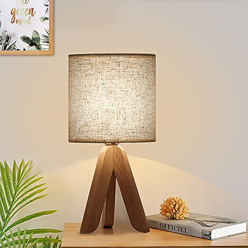 Mini Creative Wooden Table Lamp Tripod White Linen Lampshade Modern Table Lamp Fashion Nightlight for Office Night Table for 13.4 Inches