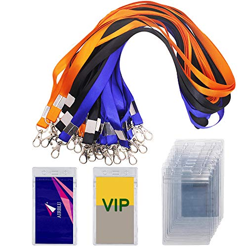 30 paquetes de titulares de badge con 3 colores lanyards, Yu cool waterproof vertical name tag id card holder, heavy duty seal able vinyl PVC, size 2. 7'' 4. 7'-transparente
