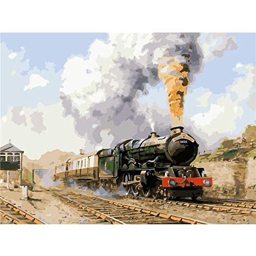 Pintura por números en Lienzo DIY Train Frameless 60X75cm Decoración de la habitación Imágenes por números Digital Painting-2157-60x75cm Sin Marco