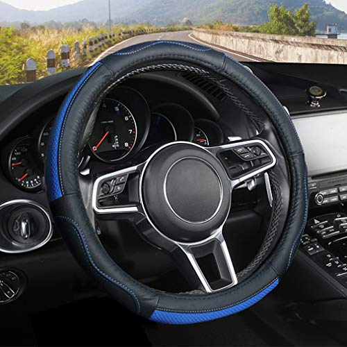 Pahajim Leder Universal Auto Lenkradhülle Lenkrad Lenkradbezug aus Anti Rutsch Gemütlich Lenkradabdeckung Lenkradschoner (Blau)
