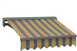 ADVANING 12'X10' Manual Patio Retractable Awning | Classic Series | Premium Quality, 100% Acrylic UV Sun Shade Awning, Color: Yellow & Gray Stripes, MA1210-A225H