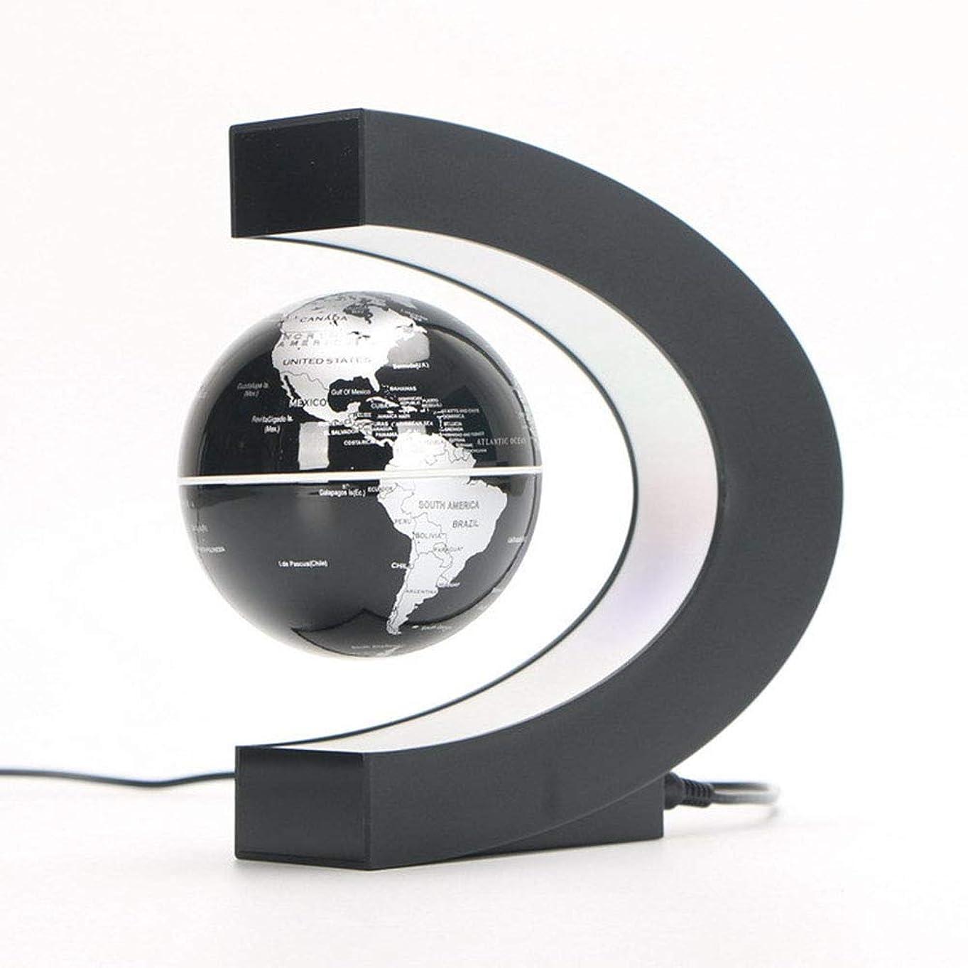 肺出来事瞬時に装飾地球儀 C字型の磁気浮上グローブ付きLEDライト世界地図デスクデコレーション3色 家庭室教室の机の装飾
