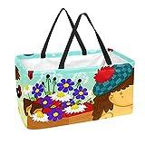 Bolsa de comestibles reutilizable grande, resistente bolsa de compras con parte inferior reforzada y asa (lindo estampado floral de hongos erizos)