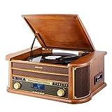 MUSITREND Tocadiscos (33 / 45 / 78 RPM) estéreo de 3 velocidades con Altavoces incorporados, Marrón Sistema de Audio para el hogar (Bluetooth, DAB/FM Radio, Analógico, MP3, WMA, CD de Audio)
