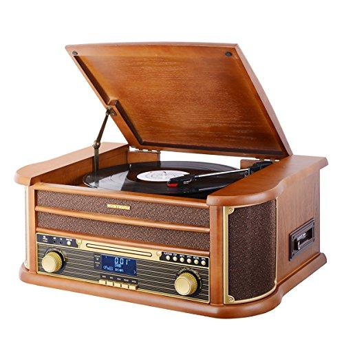MUSITREND Plattenspieler, Retro Stereo Kompaktanlage mit DAB/FM Radio, Bluetooth CD Player USB Kassette Fernbedienung, aus 100% Natürlichem Holz