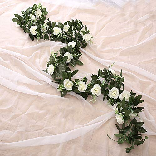 Silk Artificial Rose Vine Hanging Flowers for Wall Decoration Rattan Fake Plants Leaves Garland Romantic Wedding Home Decoration (Color : Rose red)