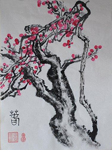 oridental oeuvre d 'art sans cadre peint à la main art chinois pinceau encre et laver peinture aquarelle dessin image sur papier de riz Prune Fleur Décorations pour Office séjour