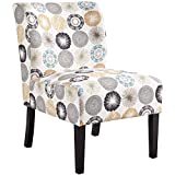 YAHEETECH Modern Accent Chair Slipper Chair Casual Upholstered Single Sofa Fabric Cloth Armless Chair for Living Room Bedroom Vanity Desk Beige