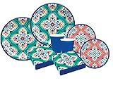 Kit n.47 set addobbi tavola per feste a tema Boho vibes maioliche addobbi chic per compleanno motivo multicolore con maiolica
