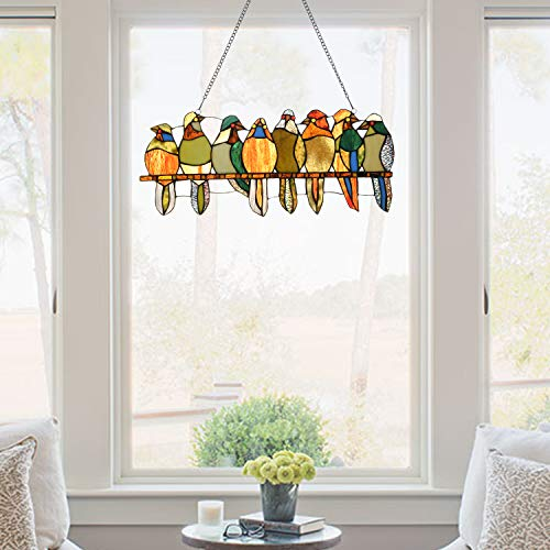 Artzone Hand Crafted Stained Glass Window Hangings, 8 Stained Glass Birds on Branch, Stained Glass Bird Suncatchers, Stained Glass Panels, Stained Glass Birds, Stained Glass Window Panel