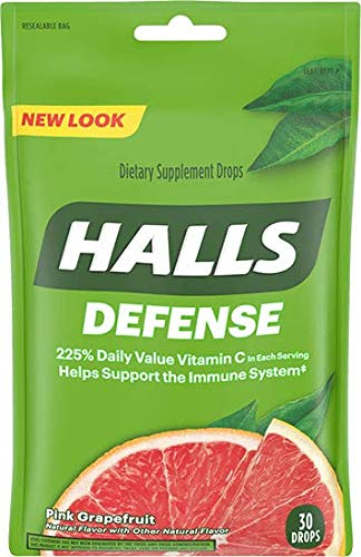 Halls Defense Drops Pink Grapefruit - 30 ct, Pack of 3