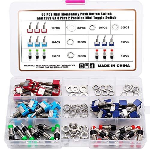 Coolt y 60 unidades de 125 V, 6 A, 250 V, 2 A, 120 V, 5 A, 3 pines, 2 posiciones, mini interruptor basculante y 1 A 250 V, 2 pines, mini pulsador
