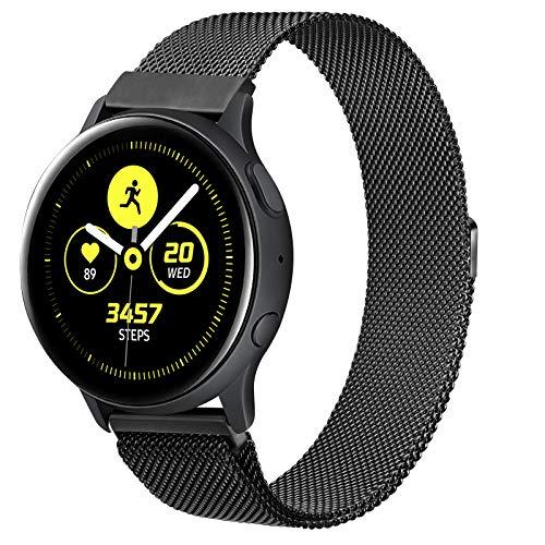 ZGCE Compatible con Samsung Galaxy Watch Active/Active 2 40 mm/44 mm, malla de acero inoxidable de 20 mm, correa de reloj para Gear Sport/S2 Classic/Garmin Vivo Active 3/Watch 3 41 mm (20 mm, negro).