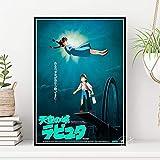 WDQFANGYI Póster De Castillo En El Cielo Animación Clásica Dibujos Animados Miyazaki Hayao Cuadro De Pared para El Hogar Bar Chico Decoración De Habitación 50X70Cm (FLL6698)