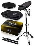 Double Sided Drum Pad Set - Responsive Drum Practice Pad Comes with Premium Drum Sticks, Adjustable...