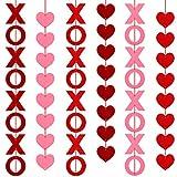 WILLBOND 48 Stücke XOXO mit Herz Banner Filz XOXO Herz Banner Hängende Girlande Rot Herz Hängende Schnur Girlande Party Dekoration für Valentinstag Vorschlag (6 Saiten)