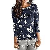 JUTOO Damen Shirt Casual Bluse lose Baumwolle Tops T-Shirt(A-Marine,EU:38/CN:S)
