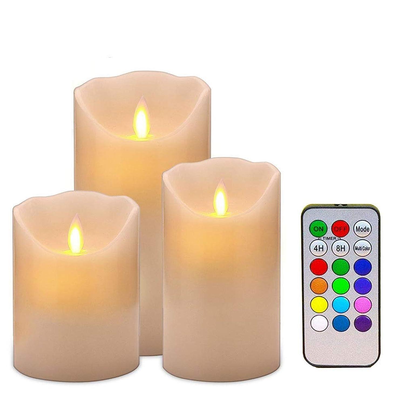 おっとプラグロケーションBigFox キャンドルライト 12色LED リモコン付き 3本セット タイマー機能 点灯モード切替 カラー切替 電池式