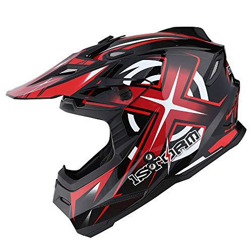 Product Image 4: 1Storm Motocross Adult Helmet BMX MX ATV Dirt Bike Helmet Racing Red + Goggles + Skeleton Red Glove Bundle