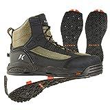 korkers Greenback wading Boot con Kling-on & Studded Kling-on soles - FB4820-09, botas para caminar, negro, (Dried Herb/Black)
