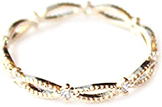 Excelsia 'Alyssera' 14K Rose/White Gold-Plated CZ Dainty Bound Split Band Stackable Ring