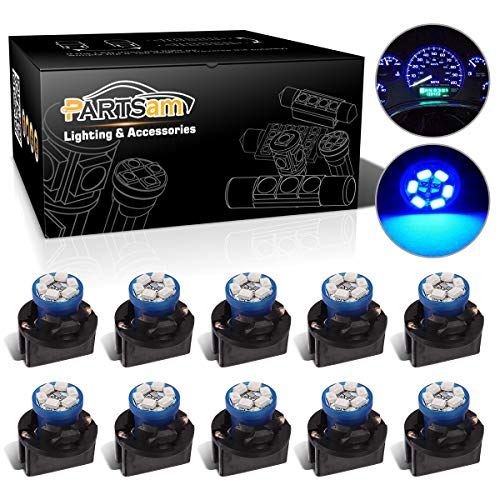 Partsam T10 194 LED Light Bulb 168 LED Bulbs Bright Instrument Panel Gauge Cluster Dashboard LED Light Bulbs Set 10 T10 LED Bulbs with 10 Twist Lock Socket-Blue