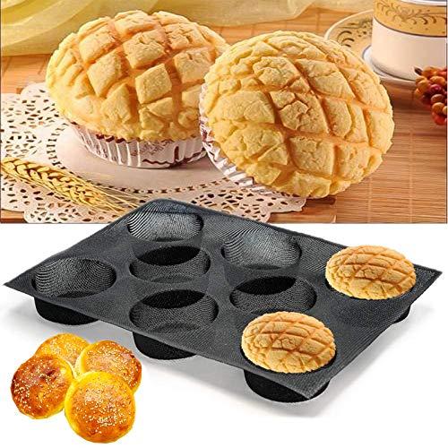 Fibreglas - Stampo in silicone per pane hamburger, forato, per pane, panini, soffi, tortine e altro ancora, 8 tazze
