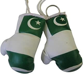 Flag Mini Small Boxing Gloves to Hang Over Car Automobile Mirror – Asia & Africa (1-Pack, Country: Pakistan)
