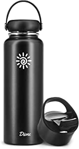 Dione Water Bottle 40 oz. Flask Double Wall Stainless Steel & Vacuum Insulated (Black) Sport Hydro Container for Home, Office, School, Outdoor Camping (Standard Mouth / Leak Proof / BPA Free Cap)