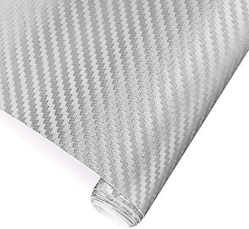 TRIXES 3D Vinilo de Fibra de Carbono Envoltura Adhesiva para Coche - Plata - Rollo para Recubrir de Vinilo - 1,52m x 0,30m - para Interior / Exterior - Efecto Texturizado 3D para Automóvil
