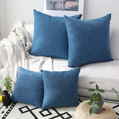 Kevin Textile Decor Woven Fine Burlap Lined Linen Pillowcases Cushion Covers for Sofa, Navy Blue, Set of 4, 18 inch