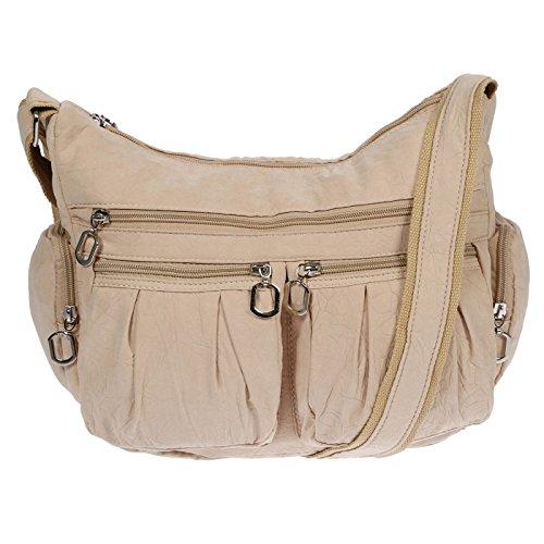 Christian Wippermann Damenhandtasche Schultertasche aus Canvas Beige