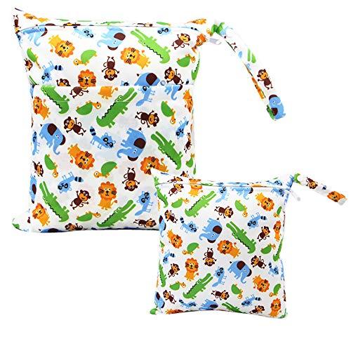 iZiv 2 Paquete Bebé Prueba de Agua Reutilizable Wet Dry Bag, Bolsas para Pañales, Reutilizable Impermeable Lavable Suspender Grandes Organizador Doble Cremallera Impresión Bolsa de Pañales