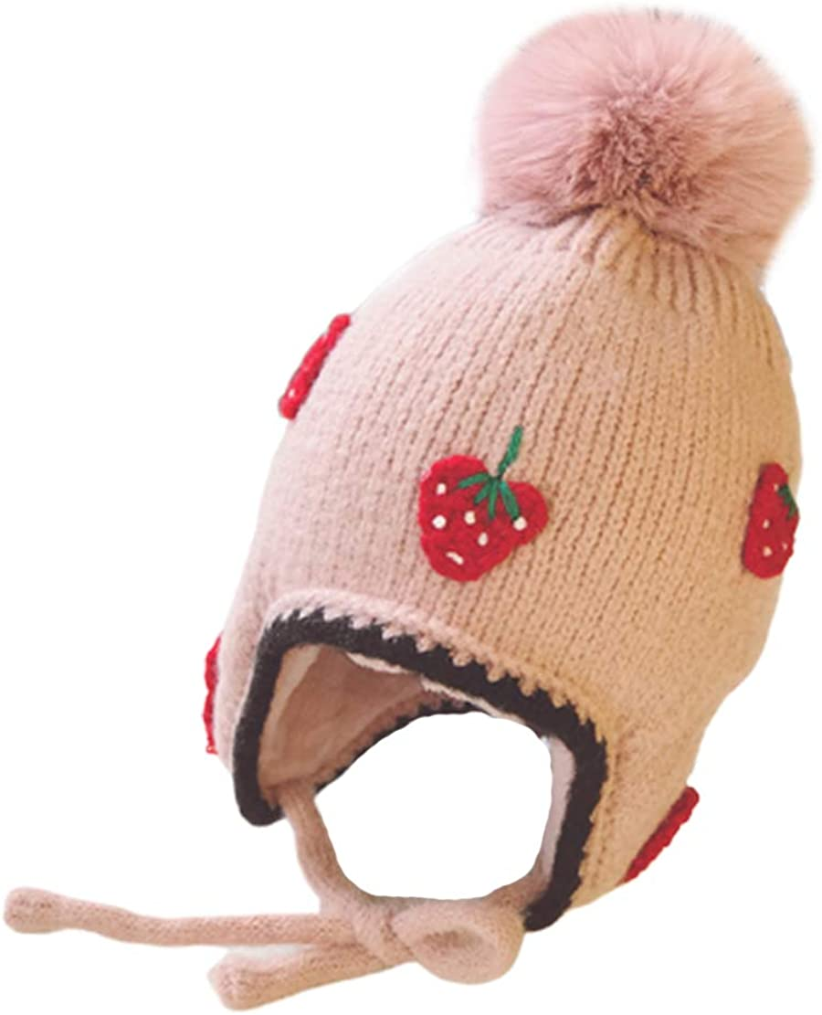 Autumn Winter Children Baby Hat Kid Toddler Girls Warm Wool with Hair Ball for 1-3 Years Old