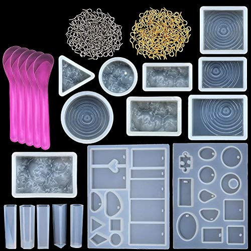 TecUnite 15 Pieces Resin Molds Silicone Pendant Mould for Jewellery DIY and 100 Pieces Eye Screw