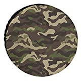 Crystal Emotion Spare Tire Covers 16inch, Cover for Jeep Trailers Cars Rvs SUV Camper, Camo Green Custom Polyester Wheel Tires Cover, Waterproof/Dust-Proof Automotive Accessories, Camouflage