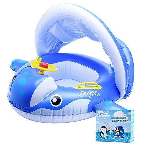 Joyjoz Baby Schwimmring Aufblasbarer Hai Schwimmsitz Kinderboot Kinder Schwimmhilfe mit Sonnenschutz für Kinder im Alter von 6 bis 36 Monaten