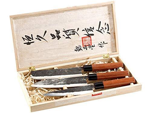 MostroMania Set Coltelli Giapponesi Professionali con Manico, Confezione in Legno Inclusa, Nakiri e Santoku