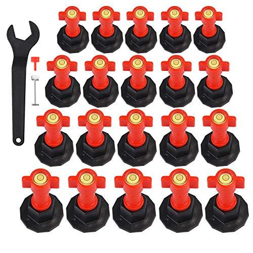 Nivelador Azulejos 25 piezas Reutilizables Espaciadores de Baldosa con Burbuja Sistema de Nivelación Suelo Resusable con Agujas de Reemplazo para Instalación de Azulejos Baldosas Mosaicos
