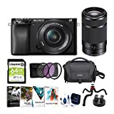 Sony Alpha a6100 APS-C Mirrorless ILC with 16-50mm & 55-210mm Lenses Bundle (8 Items)