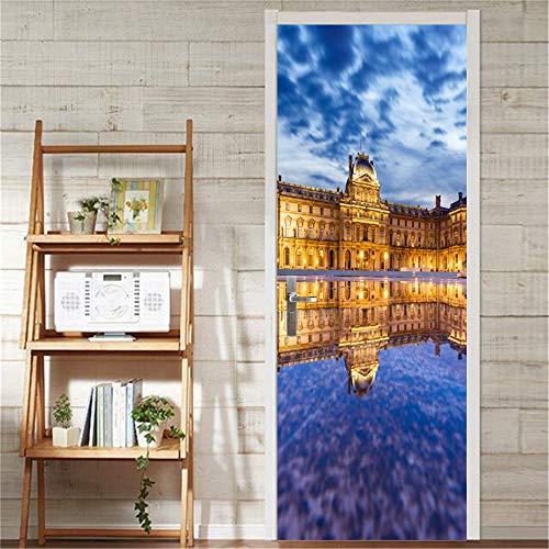 Ciudad del agua autoadhesivo extraíble impermeable DIY 3D puerta calcomanía decorativa puerta pegatinas decoración puerta mural pegatinas de pared 90Cm * 200Cm