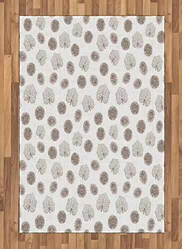 ABAKUHAUS Boticario Alfombra de Área, Hojas Tono De La Tierra, con Estampa Digital Ideal para Sala de Estar o Dormitorio, 120 x 180 cm, Cacao Blanca